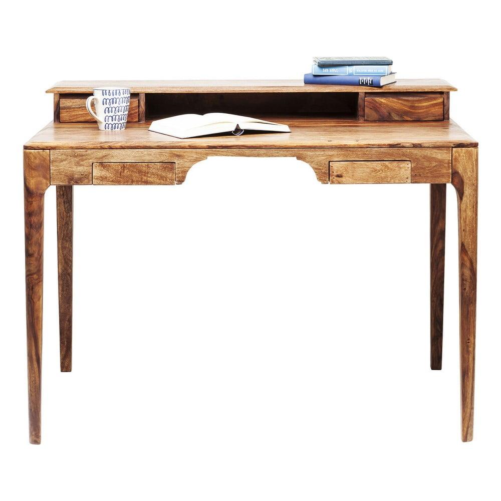 Hnedý pracovný stôl z exotických drevín Kare Design Brooklyn