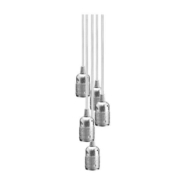Závesné svietidlo s 5 bielymi káblami a objímkou v striebornej farbe Bulb Attack Uno Group