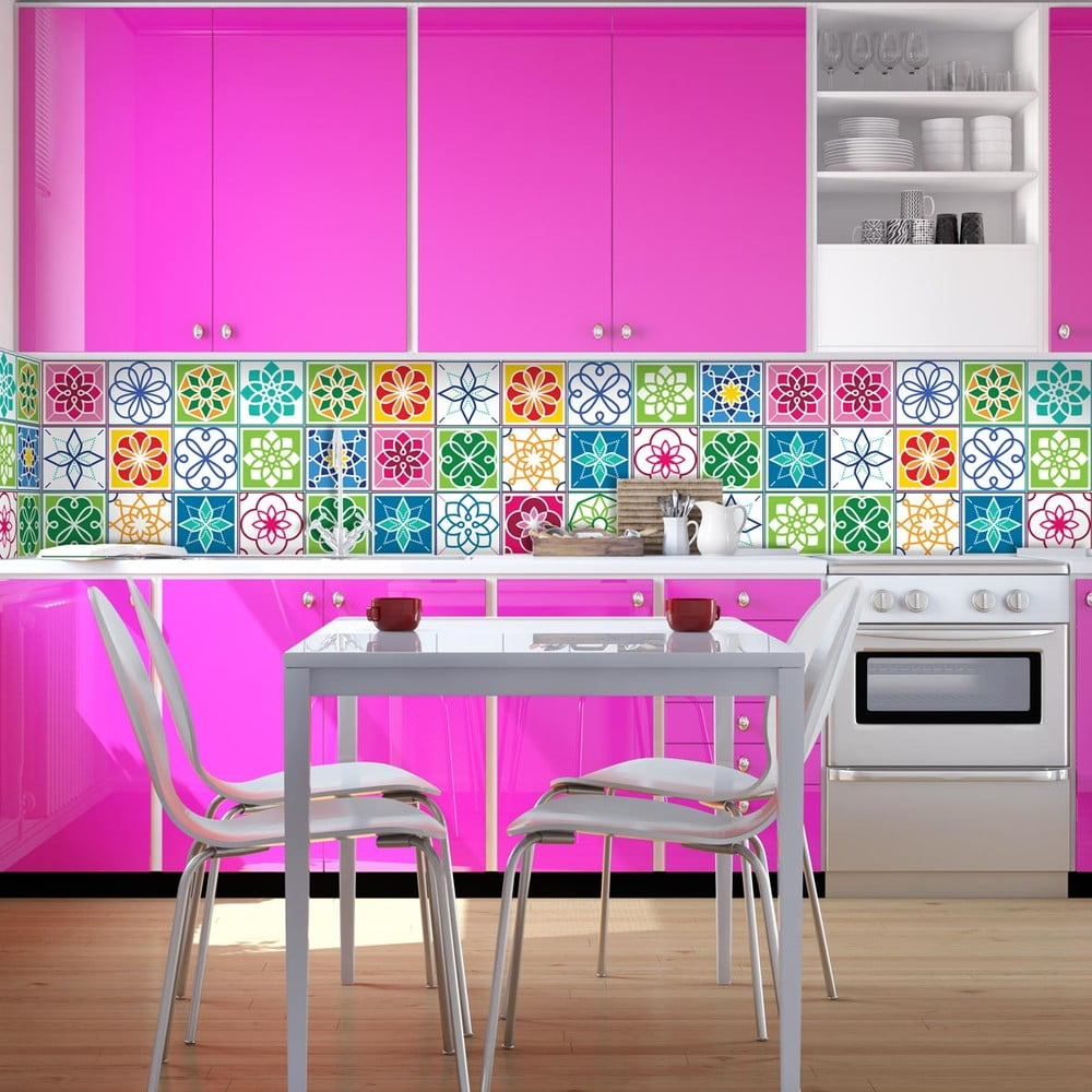 Sada 24 nástenných samolepiek Ambiance Wall Decal Cement Tiles Color Cartagena, 10 × 10 cm