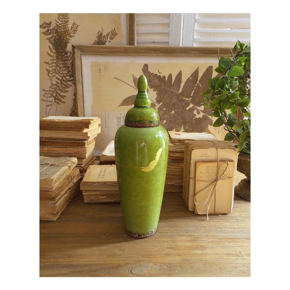 Zelená keramická nádoba s vrchnákom Orchidea Milano, výška 37 cm