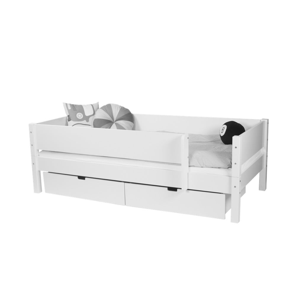 6139b3b391c79 Biela detská posteľ s bezpečnostnými postrannými peľasťami a 2 zásuvkami  Manis-h Mimer 90 x