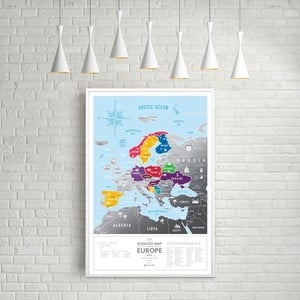 Stieracia mapa Európy Scratch Map of the Europe Silver