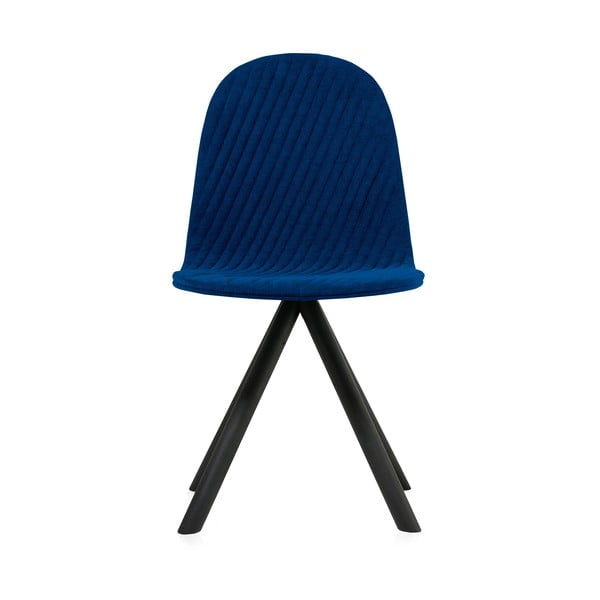 Tmavomodrá stolička s čiernymi nohami IKER Mannequin Stripe
