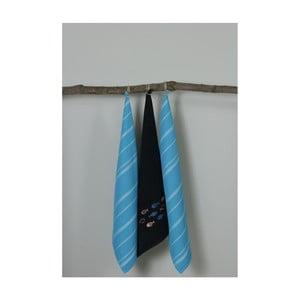 Sada 3 modro-čiernych kuchynských utierok My Home Plus Fish, 50×70 cm