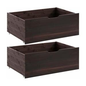 Sada 2 Tmavohnedých zásuviek pod posteľ z masívneho borovicového dreva Støraa Barney