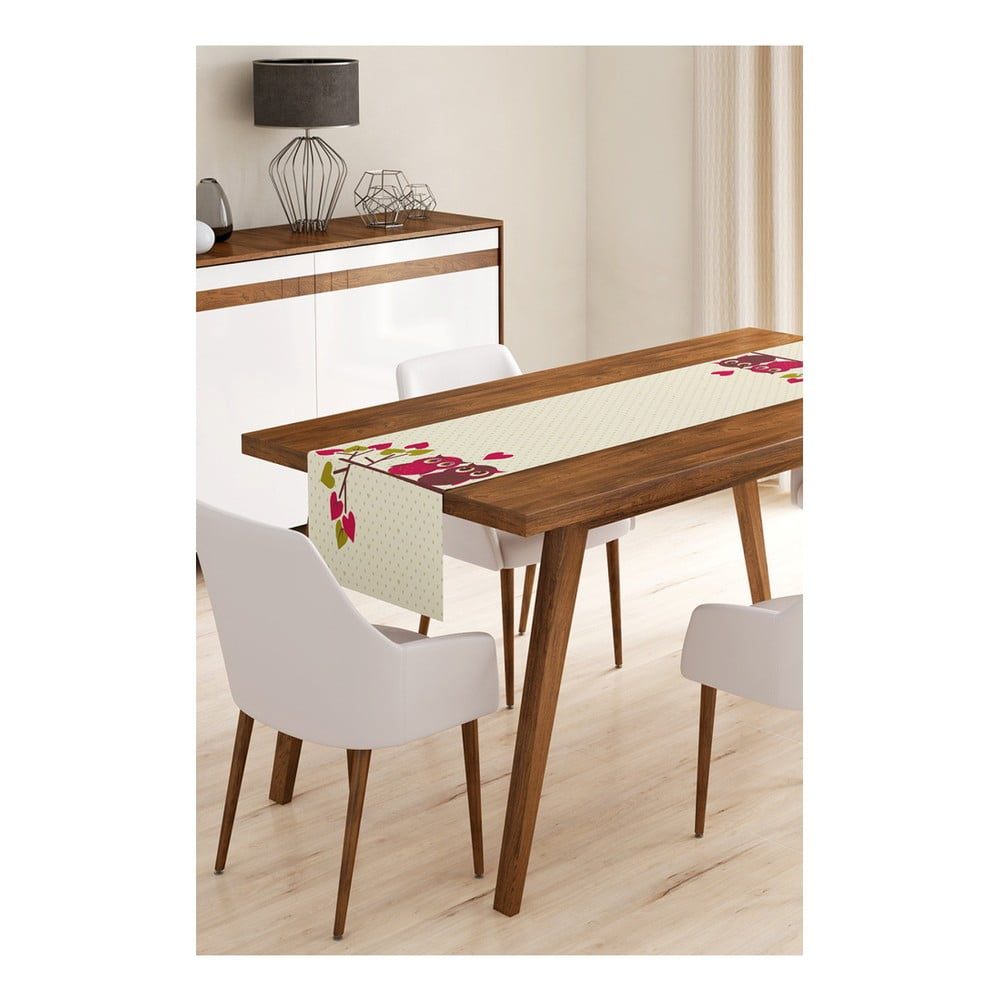 Behúň na stôl z mikrovlákna Minimalist Cushion Covers Brown Owls, 45 × 145 cm