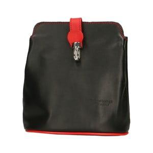 Čierna kožená kabelka s červenými detaily Roberto Buono Rita