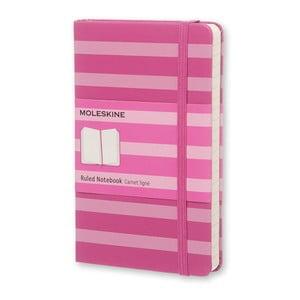 Malý ružový zápisník Moleskine Hard s prúžkami, linajkový
