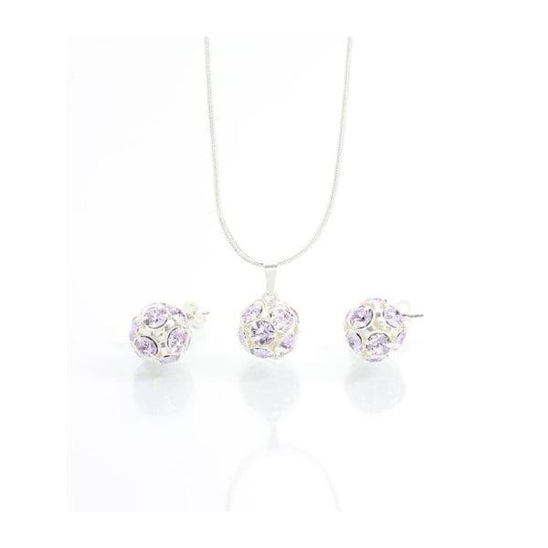 Set náhrdelníka a náušníc s fialovými Swarovski krištáľmi Yasmine