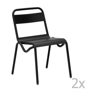 Sada 2 čiernych záhradných stoličiek Isimar Anglet