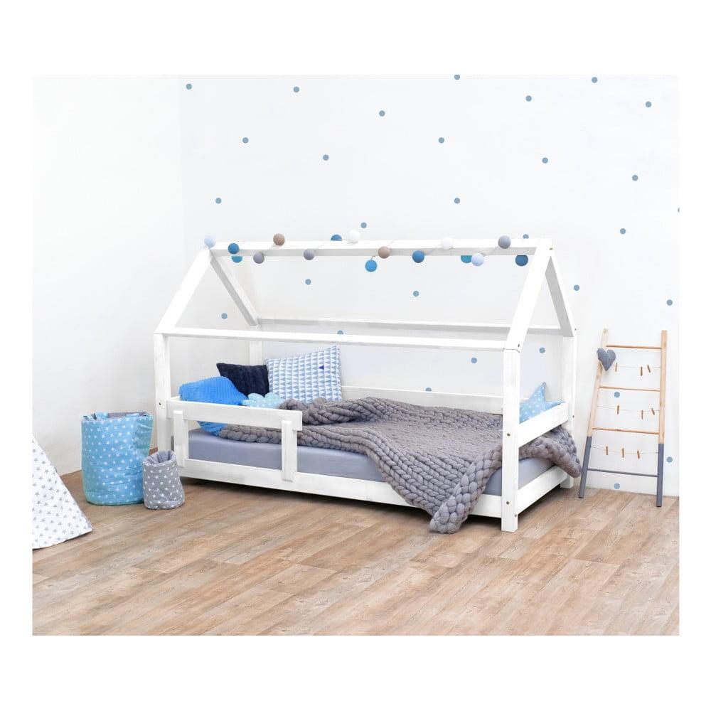 Biela detská posteľ s bočnicami zo smrekového dreva Benlemi Tery, 80 × 180 cm