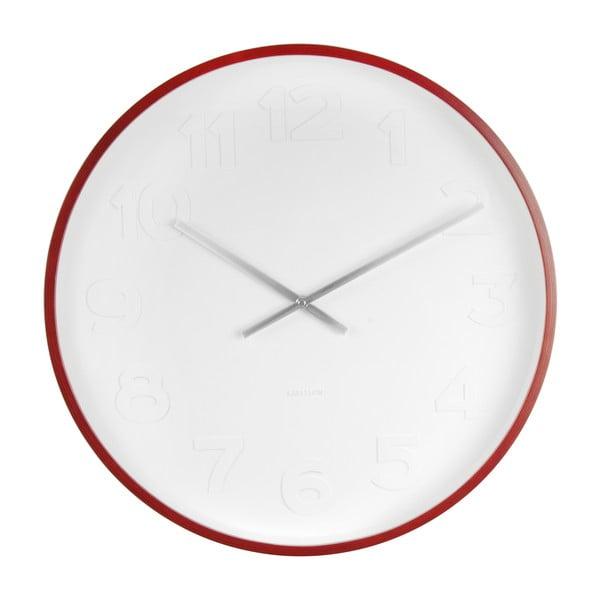 Červeno-biele nástenné hodiny Karlsson Mr Woody Numbers, ⌀ 51 cm