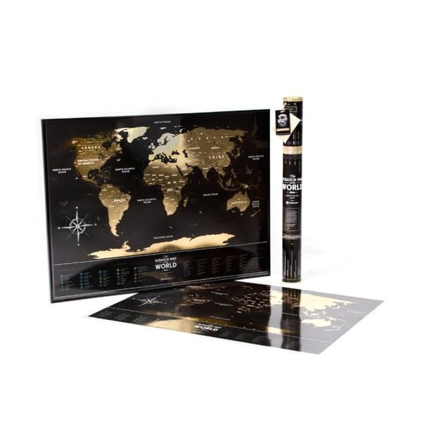 Stieracia mapa sveta Travel Map of the World Black, 80x60 cm