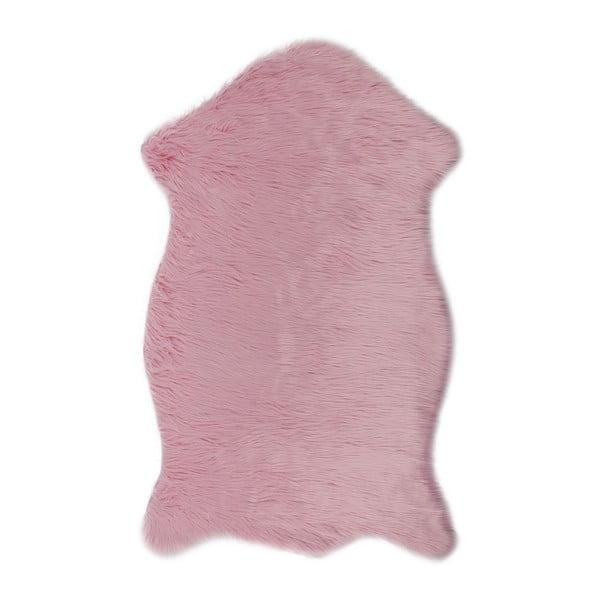 Ružový koberec z umelej kožušiny Dione, 100 x 75 cm