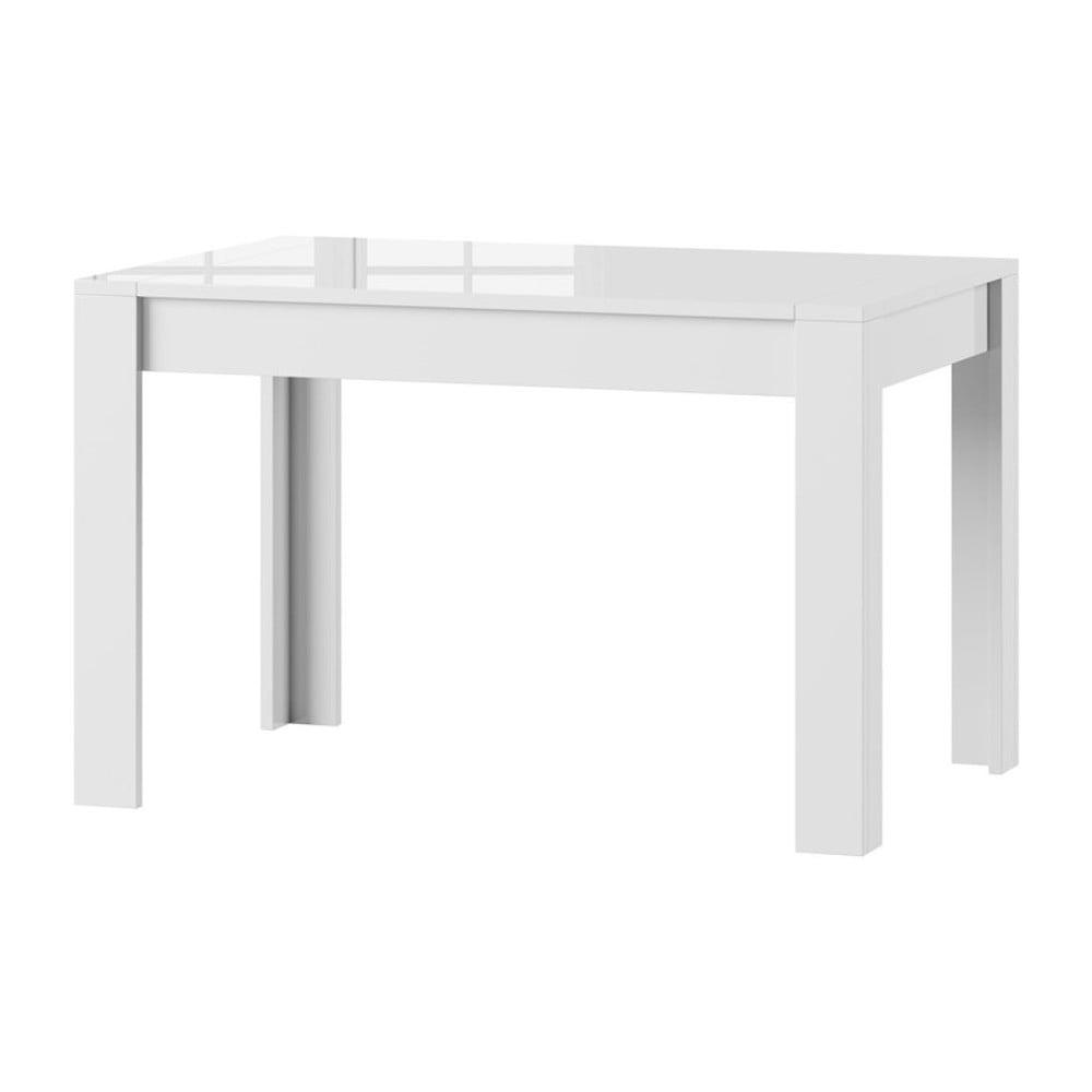 Biely rozkladací lesklý jedálenský stôl Szynaka Meble Syrius