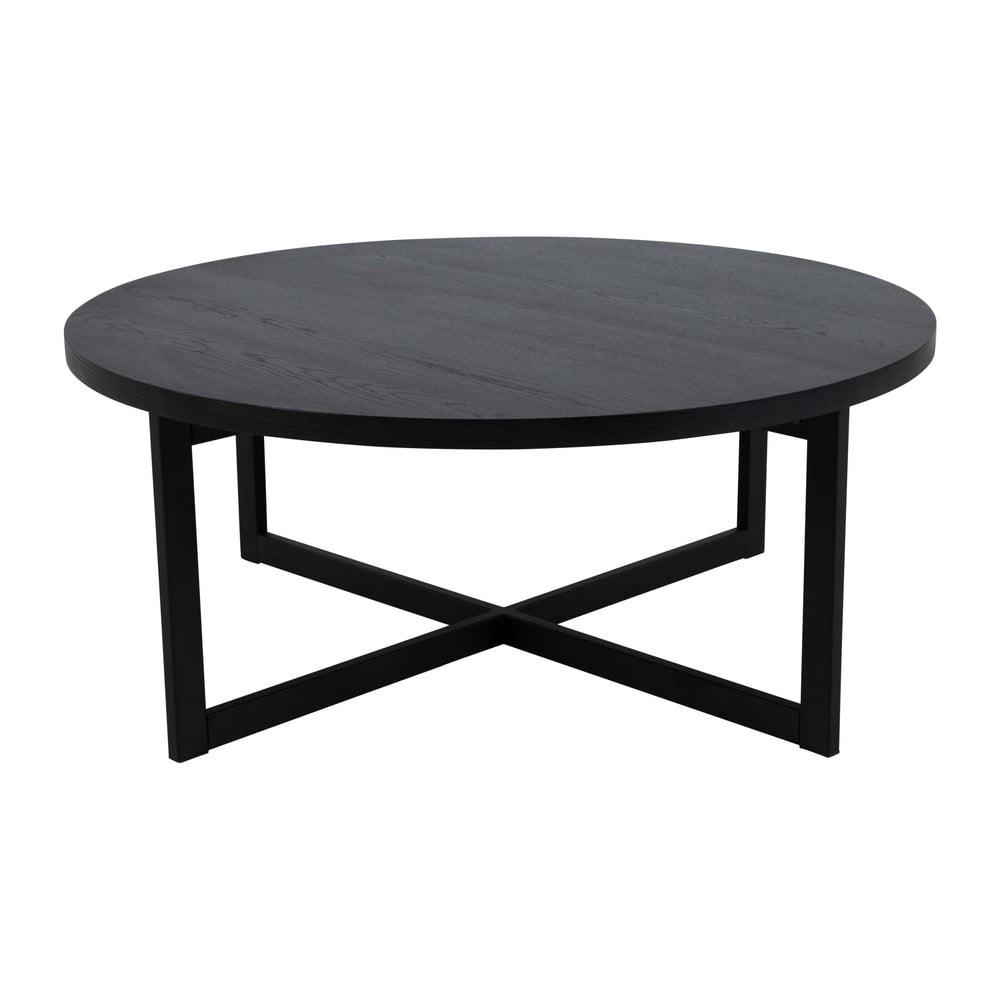 Čierny konferenčný stolík z dubového dreva Canett Elliot, ø 100 cm