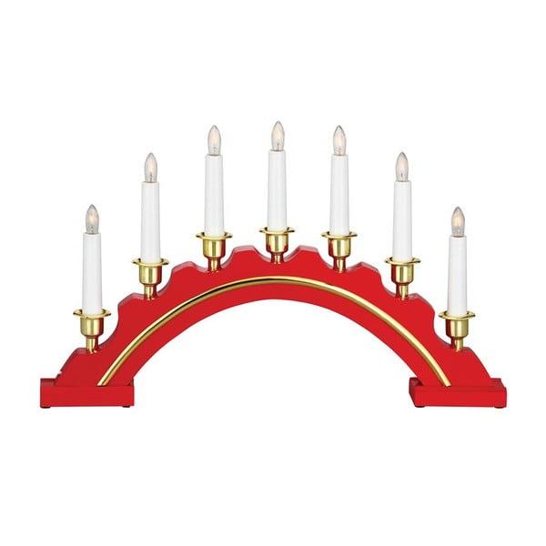 Červený drevený LED svietnik Markslöjd Celine