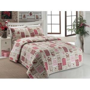 Sada prikrývky na posteľ a dvoch obliečok na vankúš Ekol Dusty Rose, 200x220 cm