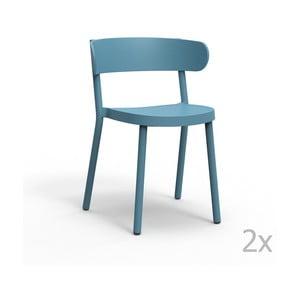 Sada 2 modrých záhradných stoličiek Resol Casino