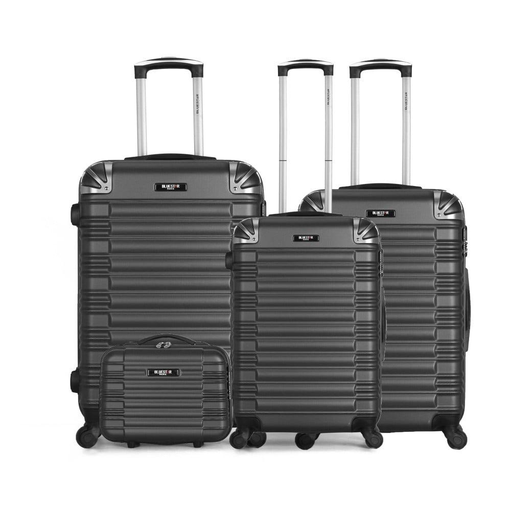 Sada 4 sivých cestovných kufrov na kolieskach a toaletního kufříku Bluestar Vanity