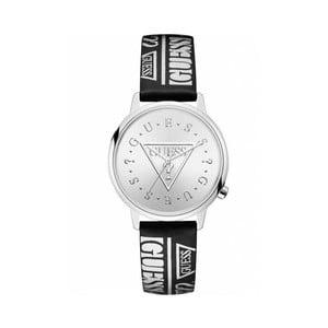 Dámske hodinky s čiernym remienkom z pravej kože Guess V1008M1