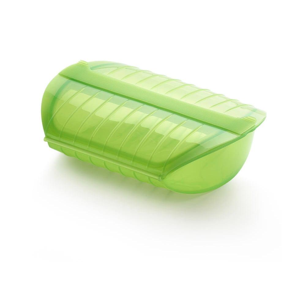 Zelená silikónová nádoba s podnosom na pečenie v páre pre 3- 4 porcie Lékué Steam Case