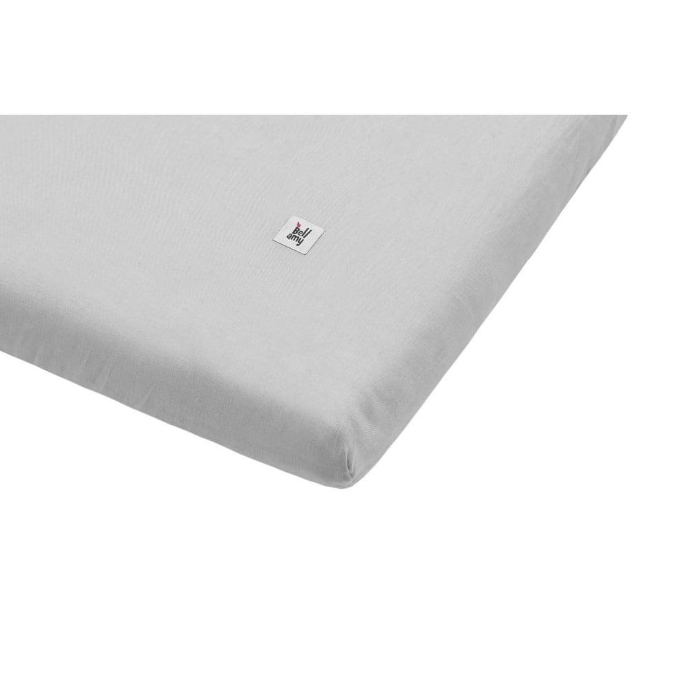Sivá detská ľanová plachta BELLAMY Stone Gray, 90 × 200 cm