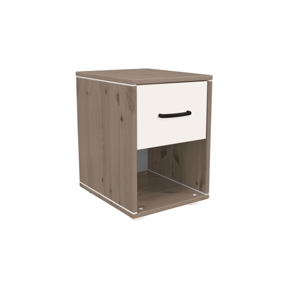 Hnedo-biely nočný stolík z borovicového dreva do detskej izby Flexa Classic