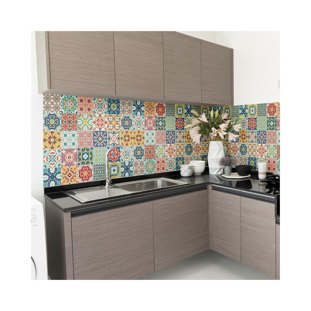 Sada 60 nástenných samolepiek Ambiance Wall Decal Cement Tiles Montanares, 15 × 15 cm