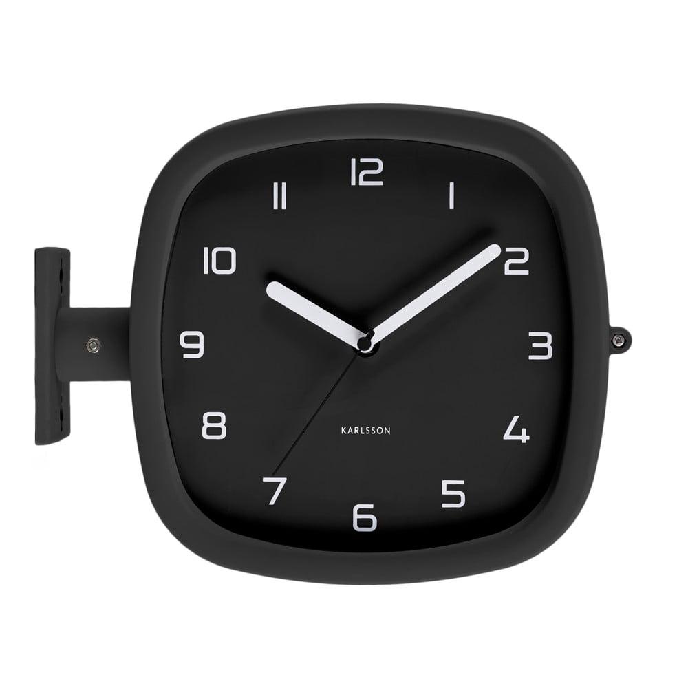 Čierne nástenné hodiny Karlsson Slides, 29 x 24,5 cm