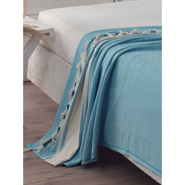 Prikrývka na posteľ Elmas Turquoise, 200x240 cm