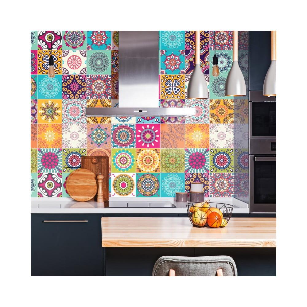 Sada 30 nástenných samolepiek Ambiance Wall Stickers Tiles Azulejos Mariska, 15 × 15 cm