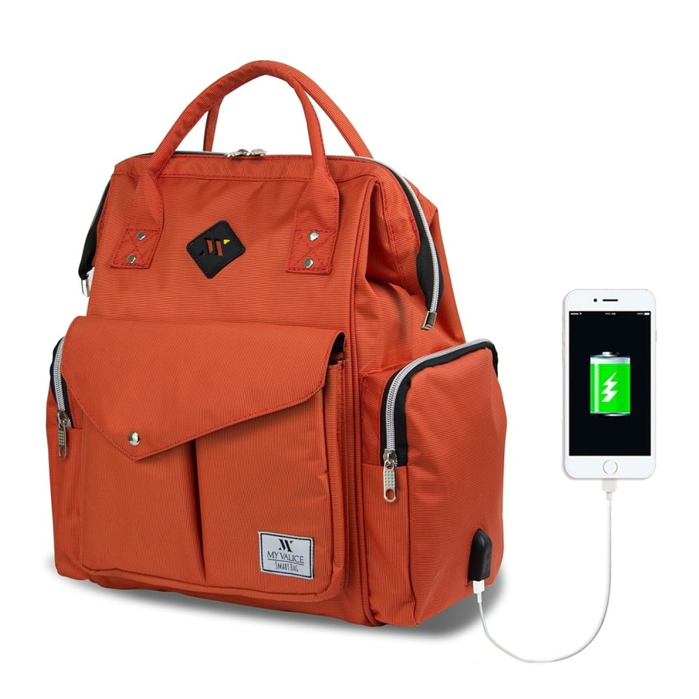 Oranžový batoh pre maminky s USB portom My Valice HAPPY MOM Baby Care Backpack
