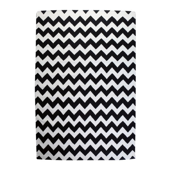 Vlnený koberec Geometry Zic Zac Black & White, 200x300 cm