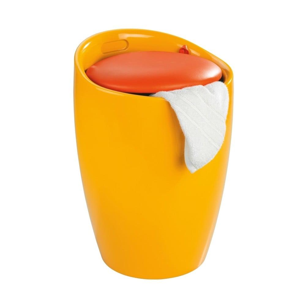 Žltý kôš na prádlo a taburetka v jednom Wenko Candy, 20 l