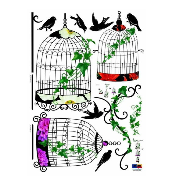 Sada samolepiek Ambiance Birds in Baroque Cages