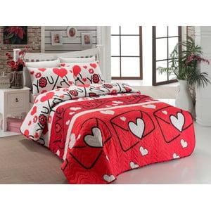 Lehká přikrývka na dvojlôžko s povlakem na polštáře Lovestory Red, 200 x 220 cm
