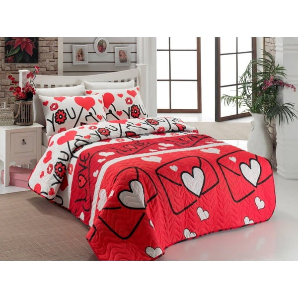 Sada prešívanej prikrývky Lovestory Red, 200x220cm
