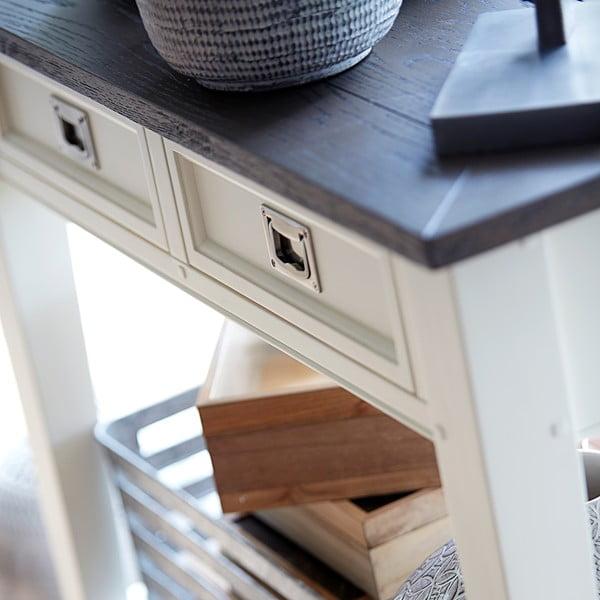Biely konzolový stolík s 2 zásuvkami Canett Skagen Console