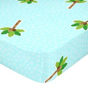 Tyrkysová elastická bavlnená plachta Mr. Fox Hippo, 90 × 200 cm