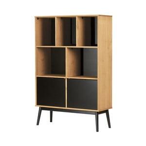 Hnedá knižnica s čiernymi dvierkami z borovicového dreva Marckeric Estela, výška 141,5 cm