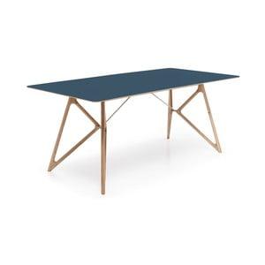 Dubový jedálenský stôl Tink Linoleum Gazzda, 160cm, modrý