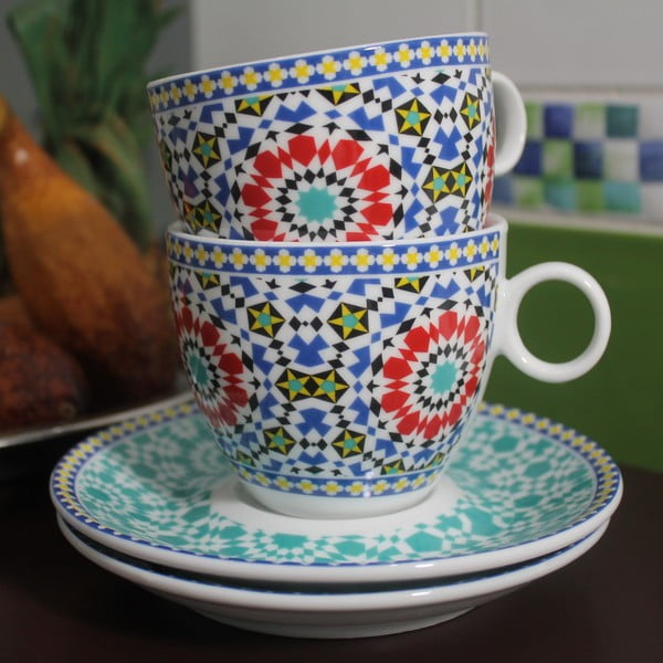 Sada 2 šálok s tanierikom Maroko C, 280 ml