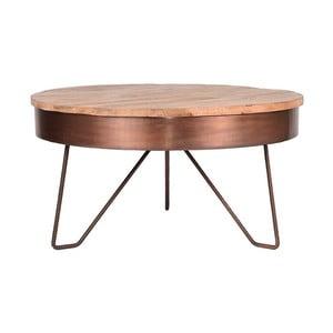 Odkladací stolík v medenej farbe s doskou z mangového dreva LABEL51 Saran, ⌀ 80 cm