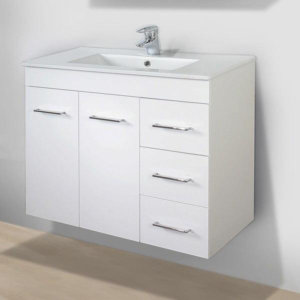 Kúpeľňová skrinka s umývadlom a zrkadlom Byron, 80 cm