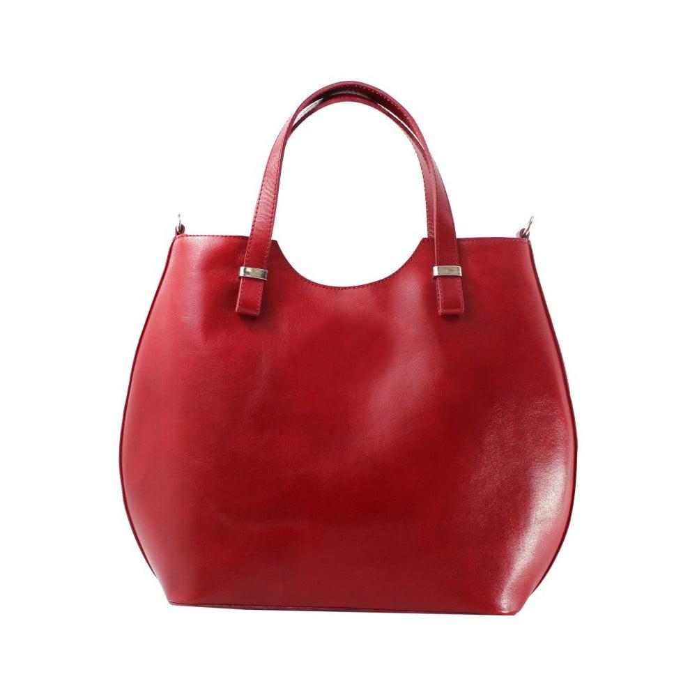 Červená kožená kabelka Chicca Borse Denisse 3a4d05f9756
