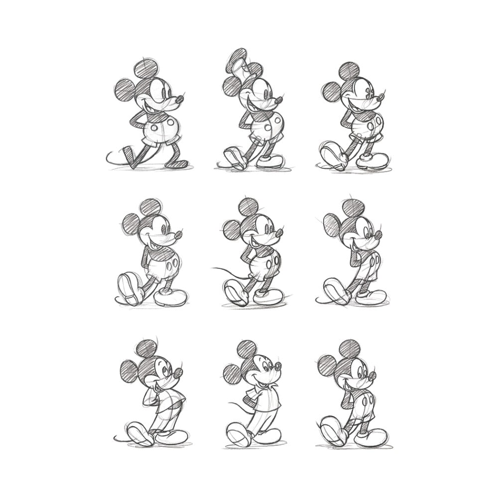 Obraz Pyramid International Mickey Mouse Sketched Multi, 60 × 80 cm