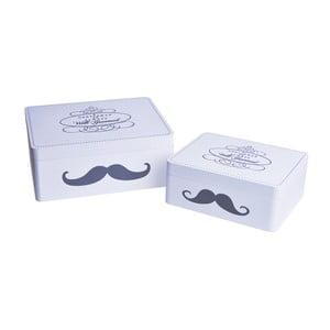 Set 2 drevených boxov Mustache