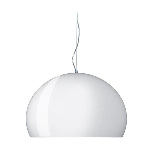 Lesklé biele stropné svietidlo Kartell Fly, ⌀52cm
