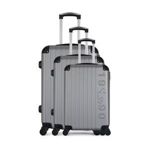 Sada 3 sivých cestovných kufrov na kolieskach GENTLEMAN FARMER Cadenas Integre